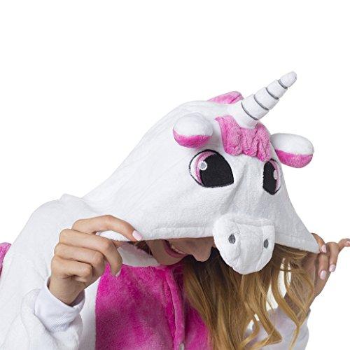 Katara- Kigurumi (10+ Modelos) Pijamas Animales Halloween Adultos, Color unicornio rosa-blanco, Talla 145-155cm (1744)