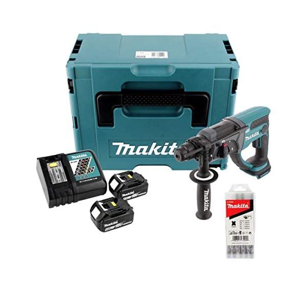 Makita DHR 202 RTJ 18 V Akku Kombihammer SDS-Plus im Makpac + 2x 5,0 Ah Akku + Ladegerät + 5 tlg. Hartmetall Bohrer Set…