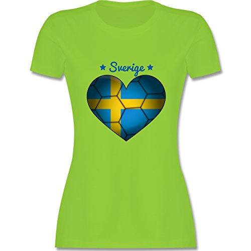 Handball - Handballherz Schweden - tailliertes Premium T-Shirt mit Rundhalsausschnitt für Damen Hellgrün