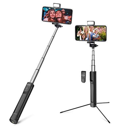 Bluetooth Selfie Stick Stativ, BlitzWolf 3 in 1 Erweiterbar Aluminum Wireless Selfie-Stange Stab mit Bluetooth-Fernauslöse und Fülllicht für iPhone XS MAX XR X 8 8 Plus 7 7 Plus 6, Android, Kameras -