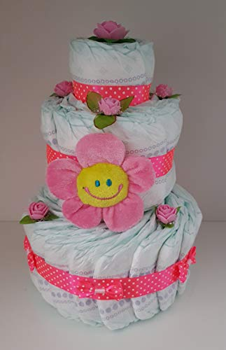 Windeltorte rosa für Mädchen, Pampers Gr.3, Baby Geburt, Geschenk zum Taufe, Babyparty Mädchen