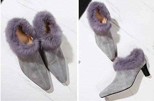 ZZHH Mme cuir tête carrée bottes nues épaisse de chaussures à talons hauts Grey