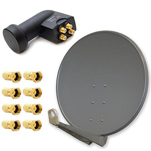 PremiumX Deluxe 100 cm Anthrazit Sat Antenne Satelliten Schüssel Spiegel Alu mit Einem Quad LNB 4 Teilnehmer für Den Direktanschluss mit F-Stecker -