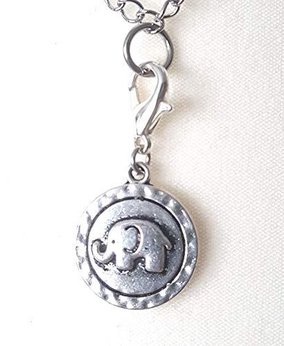 Charm ☘ Kinderschmuck ☘ Elefant ☘ Anhänger ☘ Karabiner ☘ Bettelarmband ☘ Schlüsselanhänger ☘Kette ☘ Farbe: silber