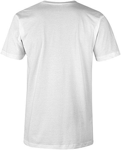 Manufactured 1974 - V-Neck T-Shirt Männer-Herren - hochwertig bedruckt mit lustigem Spruch - Die perfekte Geschenk-Idee (02) weiss