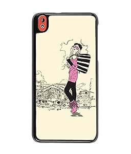 Fuson Shopping Girl Back Case Cover for HTC DESIRE 816 - D3795