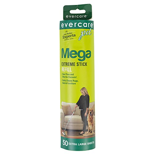 Evercare Mega Cleaning Extendable Handle Roller Refill Pet Hair Furniture 50 CT