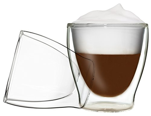DUOS 2X 200ml Doppelwand Teegläser, Kaffeegläser, Thermogläser - Set mit Schwebe-Effekt, auch für Wasser, Whiskey, Cola, Säfte, Desserts, EIS UVM. geeignet, by Feelino ...