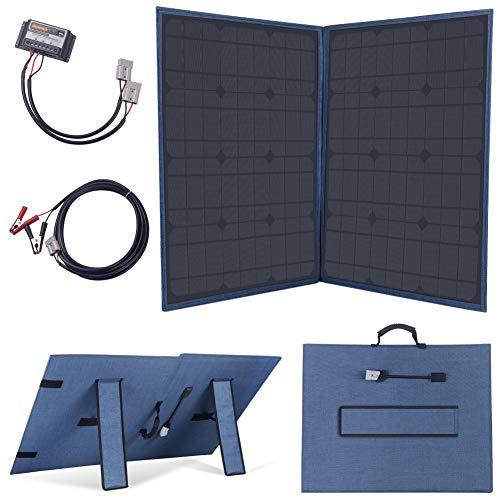 Este panel solar plegable a prueba de agua de alta calidad de 100W (azul) está diseñado para proporcionar energía gratuita para cargar baterías de 12V / 24V, por ejemplo, en vehículos y botes o cualquier otro sistema con una batería de 12V / 24V o un...