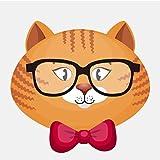 13,7 cm x 12,9 cm avatar chat de bande dessinée portant des lunettes pvc moto autocollant de voiture ordinateur autocollant fond d'écran affiche murale 2pcs / ensemble...