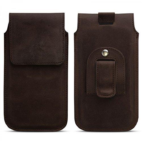 ROYALZ Ledertasche für Apple iPhone 7 Tasche Leder mit Gürtelclip Case Cover Schutztasche Handy-Zubehör Hülle dunkel braun