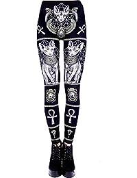 Leggings de Cintura Alta de Restyle con eEsfinge y símbolos egipcios de Ocultismo Ankh Escarabajo Punk