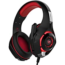 Gaming Headset, Matone Over-Ear Gaming Headphones With Volume Control USB 3.5mm Noise Cancelling Earphones Built-in Mic Stereo Bass LED Light For PS4 PC Tablet Laptop (Red)