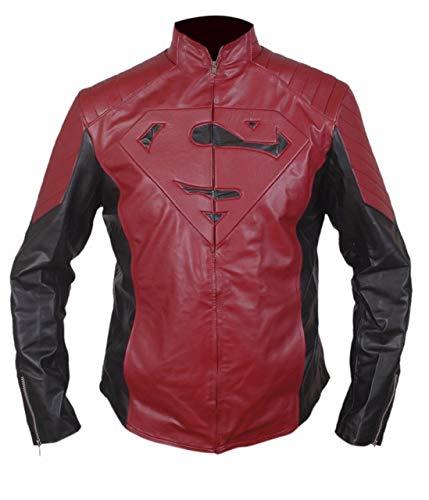 Feather Skin Jacke Herren Superman Herren von Stahl Maroon schwarz Leder Jacke-L