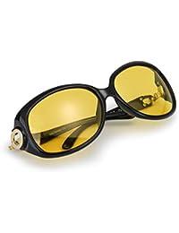 dde8660ea0f83b Myiaur Classique Mode Lunette Jaune Conduite de Nuit Anti Eblouissement  Polarisantes pour Femme - Protection 100