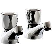VeeBath ValueBaths Pair of Value High Quality Chrome Bathroom Basin Sink Hot and Cold Taps