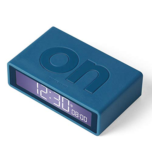 Lexon Flip+ - Reloj Despertador con Pantalla LCD Goma, Color Azul