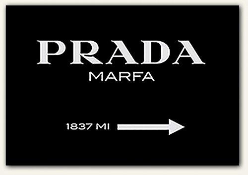 Modeschild Wegweiser zum konsumkritischen Marfa Kunstwerk in Texas - Leinwandbild - Bild auf Leinwand diverse Größen Leinwandbild XXL,schwarz, fertig gerahmter Kunstdruck zum Aufhängen bereit (120x80cm) (60x40cm)