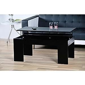 open table basse plateau relevable noir. Black Bedroom Furniture Sets. Home Design Ideas