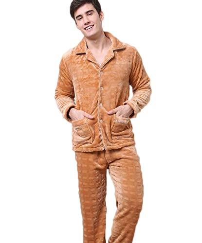 ZJEXJJ Flanellpyjamas der Männer korallenrote Fleece-Home-Service Herbst und Winter warme Herrenbekleidung (Farbe : Gelb, größe : M)