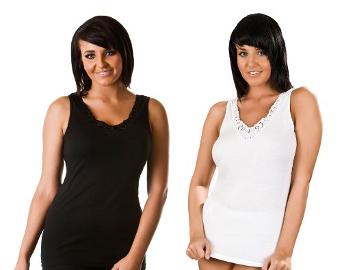 Womens 100% Cotton Ultra Comfort Sleeveless Vest, Various Colours & Sizes