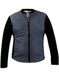 Hommes Manteau velours contrasté diamant matelassé panneaux d'hiver doublé Zip Up Jacket