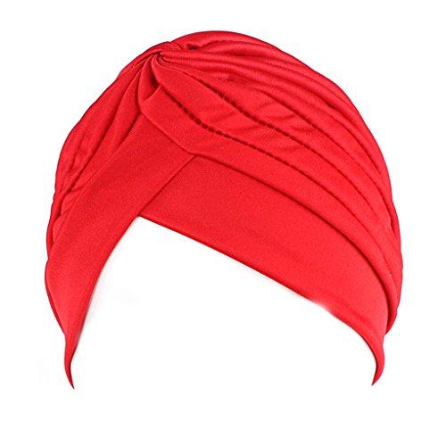 QHGstore femminile Chemo pieghe Pre Legato capo Cover Up Knit Bonnet Sun Turbante Cap rosso