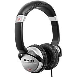 Numark HF125 - Casque Professionnel pour DJ Ultra-Portable avec Câble de 1,8 m, Haut-Parleurs 40 mm pour une Plus Large Plage de Réponse en Fréquence et Design Fermé pour une Isolation Exceptionnelle