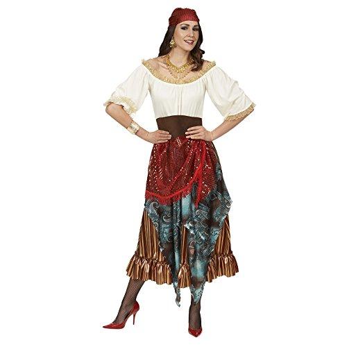 Wahrsagerin Kostüm Damen Kleid mit Gürtel und Kopftuch zum Karneval - (Wahrsagerin Kostüme Erwachsenen)