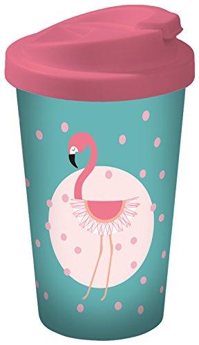 infinite by GEDA LABELS 15932 Flamingo Coffee to go Becher, Kunststoff, türkis/rosa, 9 x 9 x 17 cm
