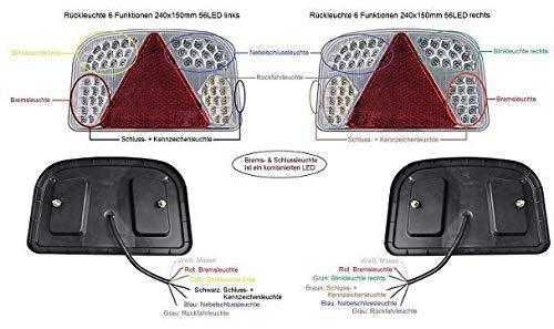 APT LED Rückleuchten Set 12V 6 Funktionen Heckleuchte Rücklicht Anhänger Traktor PKW