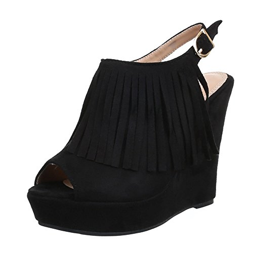 Damen Schuhe, B8017Y-SP, SANDALETTEN KEIL WEDGES PLATEAU PUMPS Schwarz