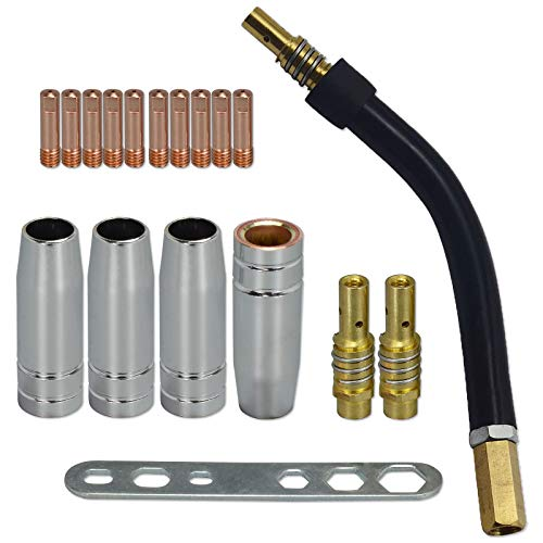 MIG/MAG Verschleißteile Set passend MB15 | 18 Teile | 4 x Gasdüse | 2 x Düsenstock | 10 x Stromdüse M6 0,9mm | 1 x Brennerhals | 1 x Werkzeug -