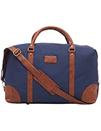 Leather World 46.2 Liter Blue 21 Inch PU Leather Nylon Duffle Bags with Zip Closure Luggage Travel Bags for Men and Women