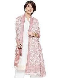 "Weavers Villa Women's Pashmina Wool Kalamkari Jaal Weave Shawls, Wraps [Size: 40"" X 80""]"