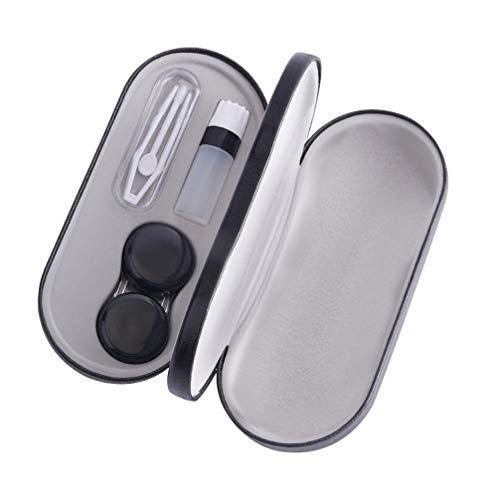 Healifty Kontaktlinsen Reiseetui Halter Doppelschichten Pinzette Applikator und Lösung Flasche Linsen Aufbewahrungsbox Behälter für zu Hause und unterwegs (schwarz)