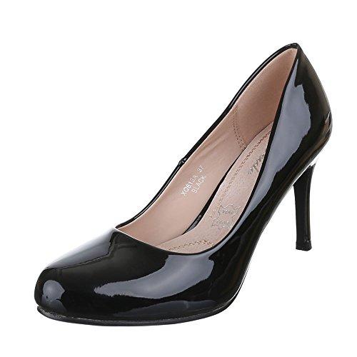 Klassische Pumps Damenschuhe Pfennig-/Stilettoabsatz High Heels Ital-Design Pumps Schwarz