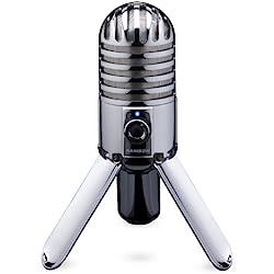 Samson Meteor Mic - Micrófono para ordenador (USB, 20 Hz - 20 kHz, 25 mm), plateado