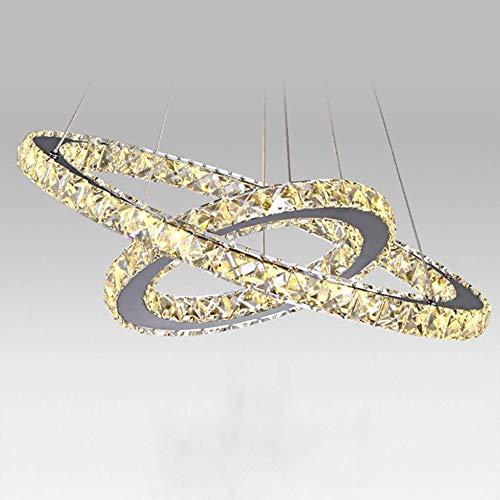 LED-Pendelleuchten Moderne Lüsterbehang Diamant-Lampe Kristall Edelstahl hängende Leuchten 2-Ring 3000K Warmes weißes Licht, 45W Dekoration Deckenleuchte Auf und ab Esstisch Leuchten -