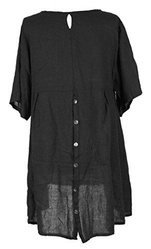 Damen Womens italienischen Lagenlook schrulligen kurze Ärmel Hälfte Taste Back Plain Leinen Tunika Kleid One Size UK 12-16 Blau - Schwarz