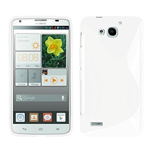 kwmobile Hülle TPU Silikon Case für Huawei Ascend G750 mit S-Line Design - Handy Cover Schutzhülle in Weiß