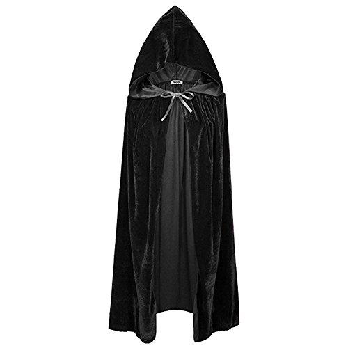 SpringPear Schwarz Hexen Umhang mit Kapuze Cape Lang Samt Kostüm Mantel Verkleidung für Halloween Theater Karneval Fasching