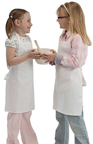 Childrens Bib Apron Kids Craft Cooking Painting School Pinny Adjustable Neck Age 7-10  White