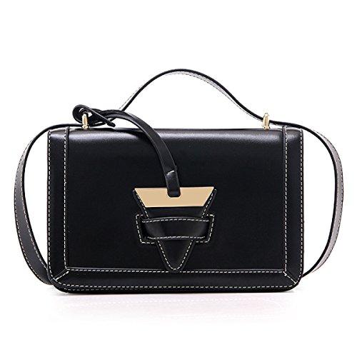 Frau Schultertasche Messenger Bag Retro-Öl-Wachs Leder Black
