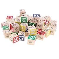 CUTICATE 50 Pieces Wooden ABC/123 Blocks Set, Developmental Toys, Number Blocks Stacking Cubes