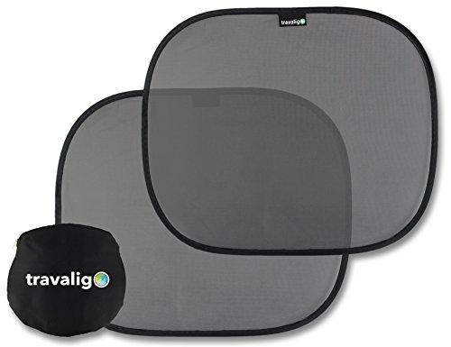 Sonnenschutz Auto 2 Stück - UV-Schutz im Pkw für Baby & Kinder - selbsthaftend - Farbe Schwarz - Größe 44 x 36 cm - Travaligo