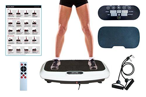PowerVBoard 2018 Produkt | Vibrationsplatte Modell PVB255 | Starke Vibrationstechnologie | Elegantes Design | Trainingsbänder | Fernbedienung | Übung Poster | Komfortmatte