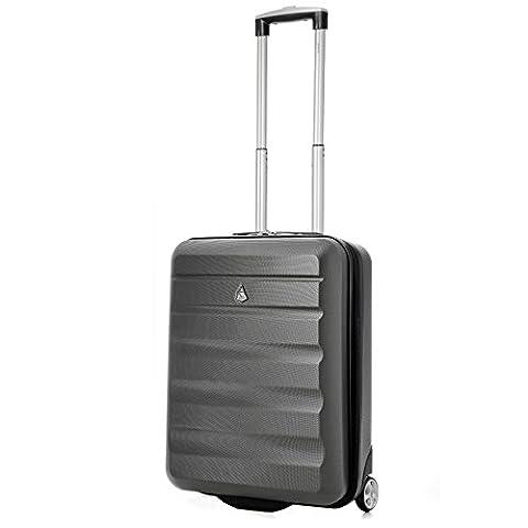 Aerolite 55x40x20 Ryanair Taille Maximale 40L ABS Bagage Cabine Bagage à Main Valise Rigide Légere à 2 Roulettes , S'adapte Également à Easyjet , Lufthansa , Jet2 , Monarch et Plus , Gris Foncé