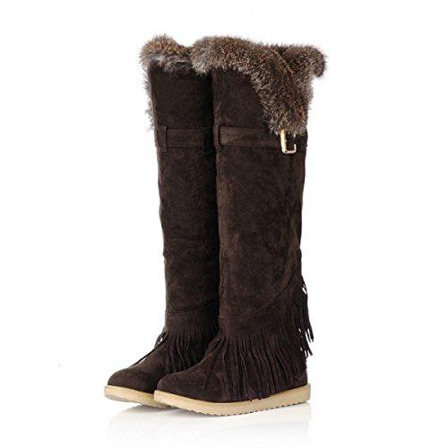 Le Donne Stivali Autunno E Inverno Stivali Nappe Stivali Stivali Al Ginocchio Scarponi Da Neve DarkBrown