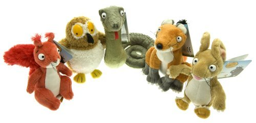 """Gruffalo collection 7"""" - Fox, Red Squirrel, Mouse, Green Snake and Owl"""